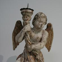 Unique and beautiful weathered baroque angel with candleholder, Italy 18th century