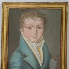 Great pastel portrait of a young boy, France circa 1800-1840