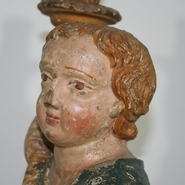 Unique and early baroque angel with candleholder, Italy  circa 1650-1700
