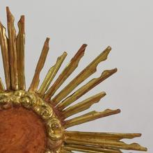 Carved baroque wooden sun, Italy circa 1750