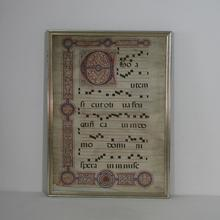 Beautiful large framed vellum book page, handwriting, Italy Dated 1534