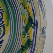Unique and extremely large beautiful Spanish earthenware bowl.