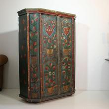 Beautiful painted 18th century french wedding armoire from the Alsace, France 18th century