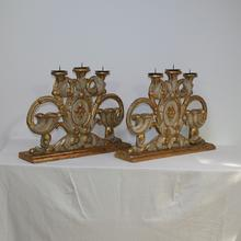 Beautiful and very rare pair of baroque candleholders, Italy circa 1750