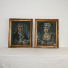 Nice pair of pastel portraits, France circa 1750