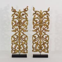Pair of giltwood neo gothic ornaments, Italy circa 1850