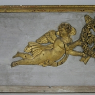Beautiful panel with gilded angels. Chalk on wood
