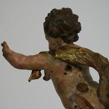Small Carved Wooden Baroque Angel, Italy circa 1750