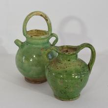 Small green glazed terracotta jug, France 19th century