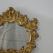 Well carved small giltwood baroque style mirror, Italy 19th century